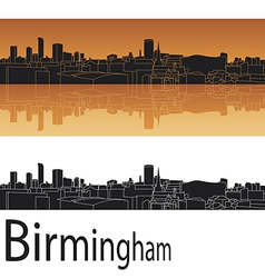 Birmingham skyline in orange background vector image vector image