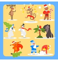 Christmas and New Year Icon Set vector image vector image