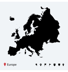 High detailed map of Europe with navigation pins vector image