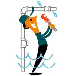 plumber fixing leak vector image
