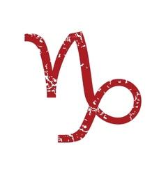 Red grunge Capricorn logo vector image