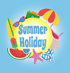 summer holiday circle banner design with colorful vector image