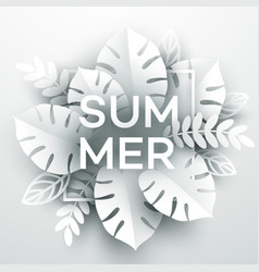 summer tropical leaf paper cut style vector image
