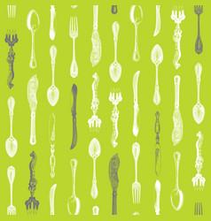 vintage silverware pattern vector image