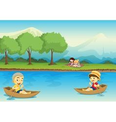 Canoe children background vector image