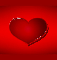 glass heart on red background valentines day vector image vector image
