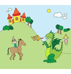 Kids drawing style dragon scene vector image