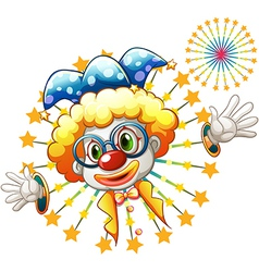 A fireworks with a clown vector image vector image