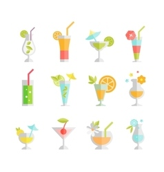 Alcoholic cocktails isolated on white background vector image