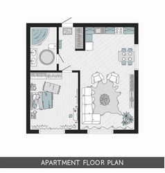 architectural plan with furniture in top view vector image vector image