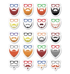 Beard and glasses hipster icons set vector image