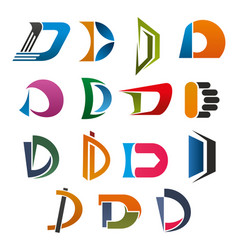 d icon of abstract letter font for business design vector image