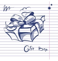Gift Box Doodle vector image vector image