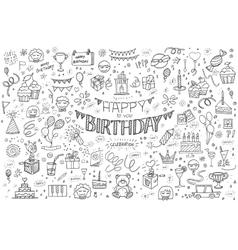 Happy birthday hand drawn abstract vector image