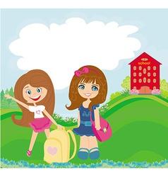 happy girls go to school vector image vector image