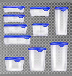 plastic food containers icon set vector image