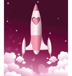 Valentine love rocket vector image