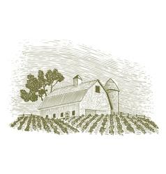 Woodcut Barn and Silo vector image vector image