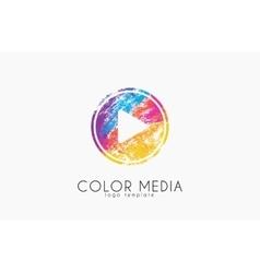 Media logo Color media Paly button logo Music vector image