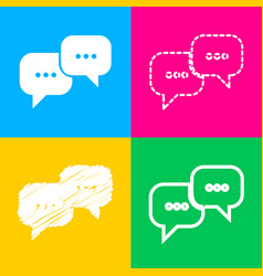 speech bubbles sign four styles of icon on four vector image vector image