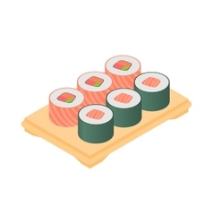 Sushi on tray icon cartoon style vector image vector image
