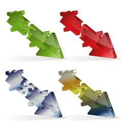 3D Puzzle Jigsaw Arrow vector image