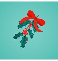 Abstract mistletoe with red bow Christmas vector image