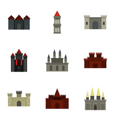 Ancient castles icon set flat style vector