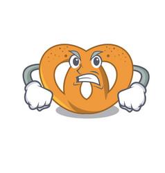 angry pretzel mascot cartoon style vector image