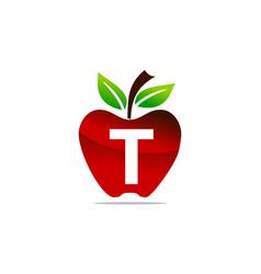 Apple letter t logo design template vector