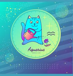 Astrology aquarius zodiac sign funny cat vector