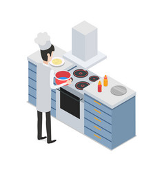 at restaurant male chef taking pot on cooker vector image