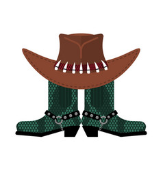 Australian hat and crocodile skin boots cowboy vector