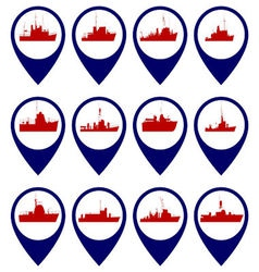 Badges with navy ships vector