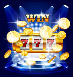 Big win or jackpot - slot machine and coins vector