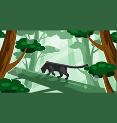 Black panther walking on a tree vector