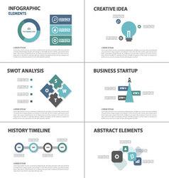 Blue green Infographic elements flat design set vector image