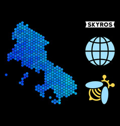 Blue hexagon skyros greek island map vector
