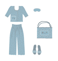 Blue pajamas a bag and slippers decorated with vector