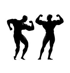 Bodybuilder silhouette gym bodybuilding sport vector