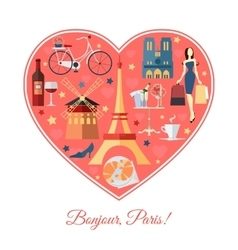Bonjour Paris France travel background with vector image