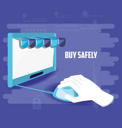 Buy safely online with hand using mouse vector