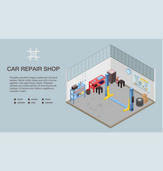 car repair shop banner isometric style vector image