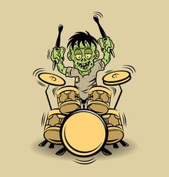 Cartoon drumming zombie vector