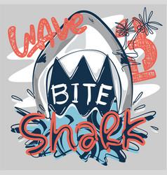 Cartoon shark attack bite vector
