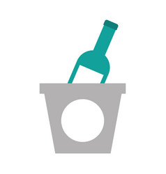 Champagne bottle in ice bucket beverage party vector