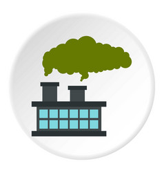 Chemical plant with cloud of smoke icon circle vector
