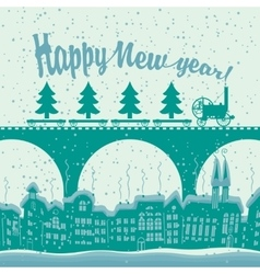 Christmas card with a vintage steam train rides vector