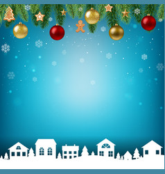 christmas postcard with garland vector image