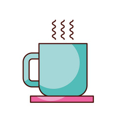 coffee cup with dish hot beverage break vector image